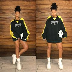 Rihanna Fenty Puma green pullover, ankle-strap creeper sneaker, Stance Fenty socks, Dior D-fence white mini saddle bag