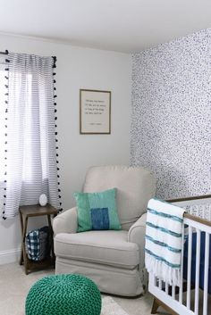 This blue and green nursery is so chic and fun!