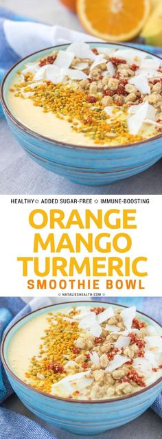 This Orange Mango Turmeric Smoothie Bowl makes the perfect quick breakfast! It's nutrient-packed, sweet and so HEALTHY - filled with mango, probiotic yogurt, orange, and TURMERIC. All natural, refined sugar-free, immune-boosting. #smoothie #smoothiebowl #breakfast #healthy #sugarfree #cleaneating #whole30 #kidsfreindly #healthyrecipe #weightlossrecipe | NATALIESHEALTH.com