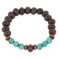 Men's Beaded Bracelet - brown turquoise horn