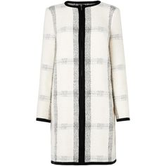 L.K. Bennett Frida Black Cream Cotton Mix Coat (6.890 ARS) ❤ liked on Polyvore featuring outerwear, coats, coats & jackets, checkered coat, checked coat, cream coat, collarless coat and cotton coat