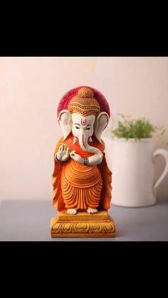 Clay Ganesha, Ganesha Painting, Ganesh Lord, Sri Ganesh, Ganesh Images, Lord Krishna Images, Indian Gods, Indian Art, Ganesh Rangoli