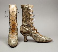 SilkDamask : Victorian boots  The use of a brocaded silk satin creates an air of restrained luxury. The maker is not known, but they are likely from France, c.1889. Via the Los Angeles County Museum of Art