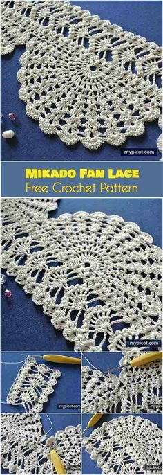 Mikado Fan Lace Free Crochet Pattern. This intricate pattern will be a wonderful addition to any crochet project requiring edging or a shape composed of lobed sections. Try it in a blanket, throw or afghan. With a bit of craft, this will also be good for placemats and doilies. #freecrochetpatterns #stitch #edging
