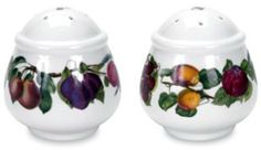 """Portmeirion Pomona Salt and Pepper Set by Portmeirion. $22.50. Highest Quality Porcelain Body. Set includes 1 each Salt and Pepper 2.5"""" height. Dishwasher and Microwave Safe. Amazon.com                Inspired by the Roman goddess of fruit, Pomona, this set of salt and pepper shakers adorn the table with delicious appeal. A garland of ripe and juicy cherries, plums and other orchard fruits encircle these plump 2-1/2-inch round shapes, adding a cheerful touch to everyday d..."""