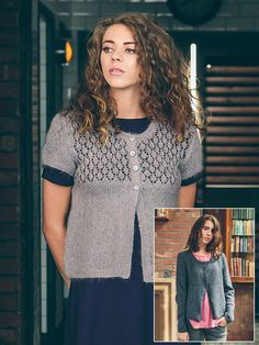 Andrea - Knit this womans cardigan from Rowan Loves.A design by Sarah Hatton using either the gorgeous Kidsilk Haze or the beautiful Felted Tweed. Kidsilk Haze has a lace yoke and the Felted Tweed has a textured yoke both with optional long or short sleeves. This is for an intermediate knitter.