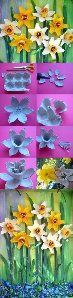 DIY Egg Carton Daffodil Flower - not quite a toy, but a fun way to turn rubbish into something pretty Kids Crafts, Crafts To Do, Easter Crafts, Craft Kids, Egg Carton Art, Egg Carton Crafts, Egg Cartons, Carton Box, Flower Crafts
