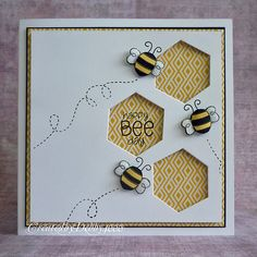 Are you just craving some bee cuteness and some simple paper craft ? Here are some bee cards to help you get inspiration. Some of these bee. Hexagon Cards, Bee Cards, Pintura Country, Animal Cards, Card Making Inspiration, Smash Book, Paper Cards, Cool Cards, Creative Cards