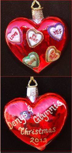 Be Mine Candy Hearts!  Engaged Heart Glass Christmas Ornament Personalized