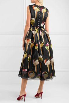 Dolce & Gabbana - Embellished Printed Silk-organza Midi Dress - Black - IT Silk Organza, Chiffon, Dresses For Sale, Dresses For Work, Black Midi Dress, Dream Dress, Designer Dresses, Printed Silk, Polyvore