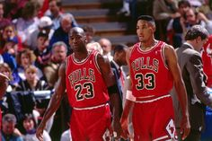 Michael Jordan and Scottie Pippen of the Chicago Bulls walks against the Sacramento Kings on November 30 1991 at Arco Arena in Sacramento California...