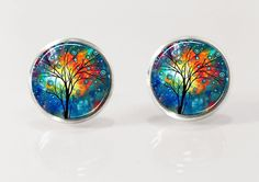 Tree of life, post earrrings, stud earrings, nature jewelry, glass earrings, picture earrings, colorful tree by Glassfulldreams $12