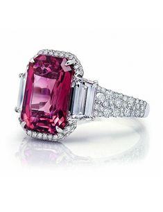 5.29 carat Emerald Cut Pink Sapphire Ring