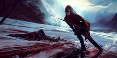 "This scene shows Ciri killing Rience while ice skating on a frozen lake in the novel ""The Tower of Swallows""  http://wojtekfus.deviantart.com/art/Ciri-482996212"