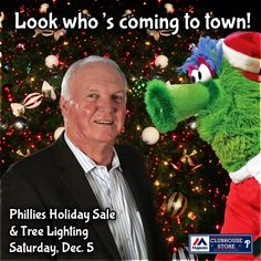 Phanta Claus, Charlie Manuel & Live Reindeer! Fan Fun Set for Phillies Holiday Sale & Tree Lighting on December 5 - click the picture to find out more!