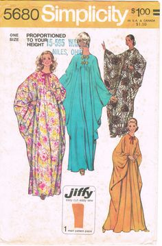 Simplicity 5680 - Vintage 1970s Sewing Pattern - Jiffy - Misses' Caftan Proportioned In Height
