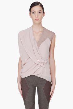 nude suede trim blouse ++ helmut lang