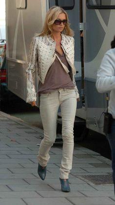 Kate Moss in Alexander McQueen. Jacket, jeans, boots