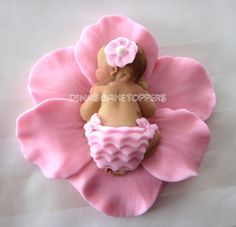 Pink Flower Baby Cake Topper Baby Shower