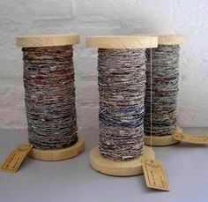 How cool, hand spun yarn made out of Newspaper!  Awesome.