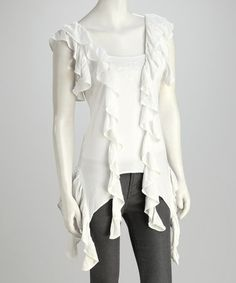 Take a look at this White Ruffled Top by Coline USA on #zulily today!