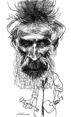 Brancusi February 19, 1876 – March 16, 1957 - Romanian sculptor ,by David Levine