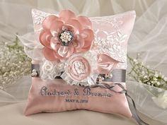 Peach Vintage Ring Pillow,  Wedding Pillow,  Ring Bearer Pillow Embroidery Names on Etsy, $40.00