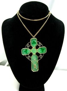 Green Shamrock Cross Pendant Necklace Vintage Goldtone St Patricks Day Jewelry | eBay