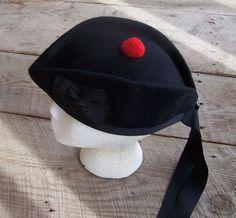 SCOTTISH GLENGARRY WOOL BLACK HAT CAP  MEDIUM