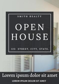 A stunning background image of home with plenty of space to include details about the open house.