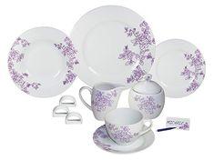 Arte Viva Arcadia 1143140 Coffee and Dinner Service Porcelain Purple Designed by Francesca Mancini Dinner Set Online, Dinner Sets, Color Lila, Porcelain Dinnerware, Dining Set, Decorative Plates, Pottery, Purple, Tableware