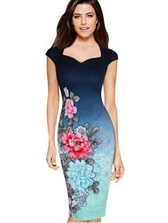 Cheap pencil dress, Buy Quality bodycon dress directly from China business dress Suppliers: 2017 Woman Business Pencil Dresses Printed O Neck Elegant Slim Ladies Party Vestidos Office Work Bodycon Dress Cheap Dresses, Blue Dresses, Casual Dresses, Fashion Dresses, Dresses For Work, Dress Work, Sleeveless Dresses, Elegant Dresses, Vintage Pencil Dress