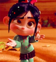 """I happened to screenshot the GIF in the cutest part. I am SO drawing THIS! Disney Wiki, Disney Movies, Disney Pixar, Disney Characters, Game Character, Character Design, Vanellope Y Ralph, Randy Cunningham, Vanellope Von Schweetz"