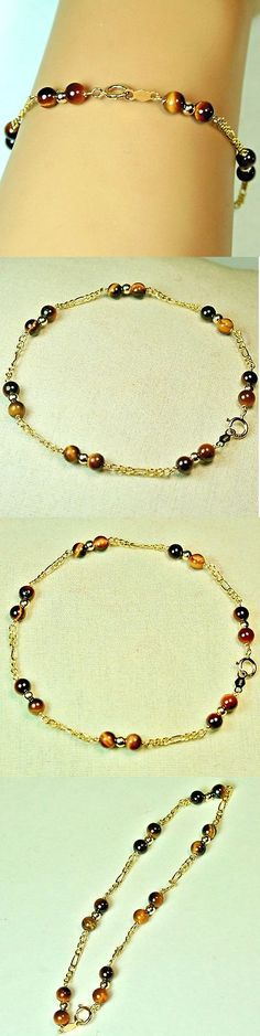 Gemstone 164315: 14K Solid Yellow Gold Lightweght Natural Tiger S Eye Bracelet 8 Inches Long -> BUY IT NOW ONLY: $68 on eBay!