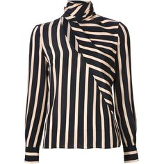 Emanuel Ungaro Striped Print Blouse ($968) ❤ liked on Polyvore featuring tops, blouses, black, striped long sleeve top, wrap top, striped silk blouse, silk wrap blouse and striped blouse