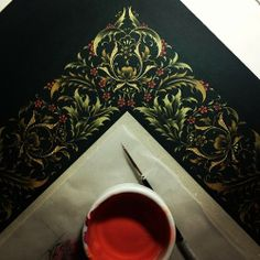 #workinprogress  #illumination #artwork #mywork #tezhip #istanbul #turkey #dilarayarcı Islamic Motifs, Islamic Patterns, Persian Motifs, Islamic Art, Illuminated Letters, Illuminated Manuscript, Magazine Illustration, Illustration Art, Arabesque