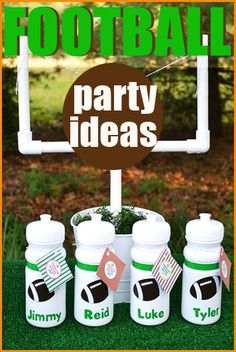 "Football Party.  ""Fan-tastic"" ideas for a boys sports party.  Creative football party snacks, desserts and table decor.  DIY football party favors to use for a birthday or sports team party."