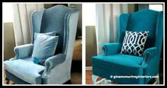 How to make a DIY Painted Armchair Wingback Chair, Armchair, Diy Painting, Diy Tutorial, Accent Chairs, Furniture, Home Decor, Crafts, How To Make