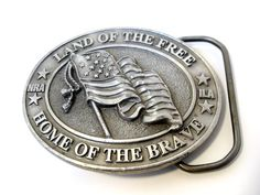 NRA Belt Buckle Land of The Free Home of The Brave by InsOddsOuts, $23.00