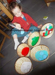 pinzas, pompones, y colores. Actividades 1-2 años
