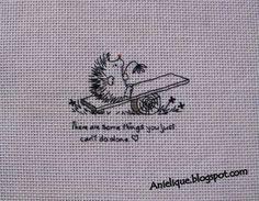 sad hedgehog, cute, cross stitch