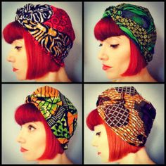 Amber Jane Ankara Wax Turban     i have one in every color, except for the top right, vibrant green.