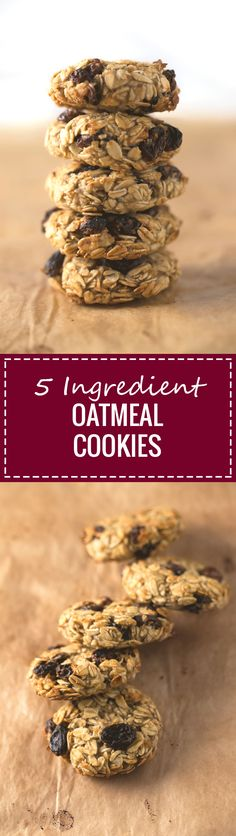 These 5-ingredient oatmeal cookies are super chewy and not as crunchy as others, but they're the healthiest cookies you can make and taste amazing.