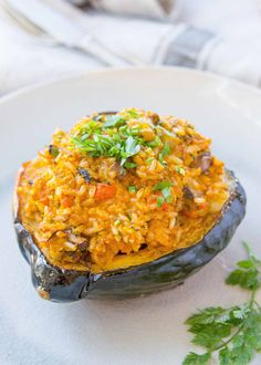squash with brown rice and mushrooms! Use acorn squash or other winter ...