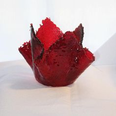 Fused Glass Candle Holder in Shades of Red - FREE Shipping & Insurance in the USA