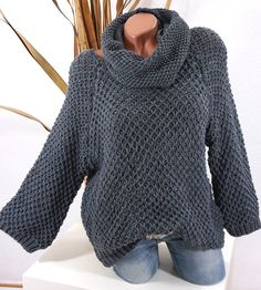 STRICK PULLOVER LOOP SCHAL OVERSIZE GROBSTRICK DUNKEL GRAU 36/38 40 42 KS478 #Damenmode #Strickpullover #grau #Loopschal #Fashion #Winter