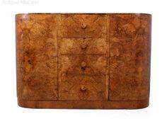 Art Deco Burr Walnut Sideboard-the-furniture-rooms-Art Deco Walnut Walnut Sideboard, Antique Sideboard, Bauhaus Furniture, Art Deco Furniture, Salvaged Decor, Vintage Designs, Interior And Exterior, Art Nouveau, New Homes