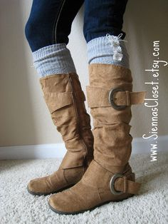 socks and boots  Q ask mum to knit these for you and put the buttons on, and sew a bit of lace.. You'll be GTG... then send me a pair... lol
