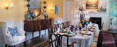 Dining room of Governor's Residence in Hartford, CT. Come check out our same pillows!