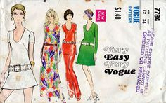 1970s Dress Tunic and Pants Pattern Vogue 7784 by BessieAndMaive